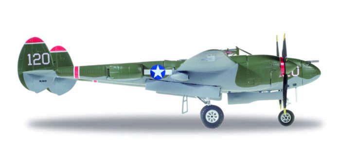 "P-38L Lightning, USAAF, Captain V.E. Jett, 431st Fighter Squadron, 475 Fighter Group ""Thoughts Of Midnite"" NL38TF (120 (1:72), Herpa 1:72 Item Number HE580243"